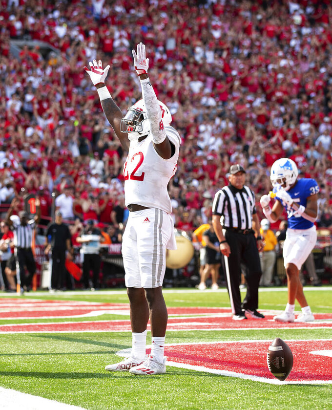 Nebraska's Gabe Ervin Jr. (22) celebrates his touchdown against Buffalo during the first half of an NCAA college football game, Saturday, Sept. 11, 2021, at Memorial Stadium in Lincoln, Neb. (AP Photo/Rebecca S. Gratz)