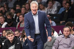 Philadelphia 76ers head coach Brett Brown reacts during the second half of an NBA basketball game against the Brooklyn Nets, Monday, Jan. 20, 2020, in New York. The 76ers won 117-111. (AP Photo/Mary Altaffer)