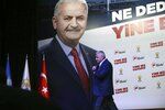 Binali Yildirim mayoral candidate for Istanbul prepares to make statements at Turkey's ruling Justice and Development Party, AKP, offices in Istanbul, Sunday, June 23, 2019. Polls have closed in Istanbul after voters cast ballots in a re-run mayoral election after a March 31 vote was voided for procedural irregularities. (AP Photo/Emrah Gurel)