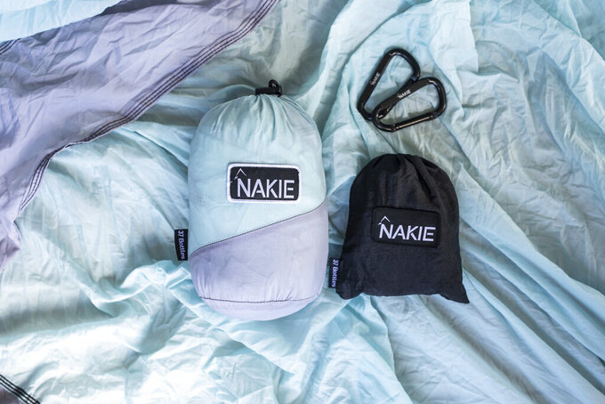 This photo shows the Nakie Hammock in twilight blue. The hammocks are made of recycled plastic bottles. Keep the handmade cards, bouquets or breakfasts in bed coming this Mother's Day, but up your game in celebration of brighter days ahead with a store-bought gift. (Nakie Hammock via AP)