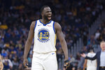 Golden State Warriors forward Draymond Green (23) reacts after he is called for a foul against Utah Jazz guard Mike Conley in the second half of an NBA basketball game in San Francisco, Monday, Nov. 11, 2019. The Jazz won 122-108. (AP Photo/John Hefti)
