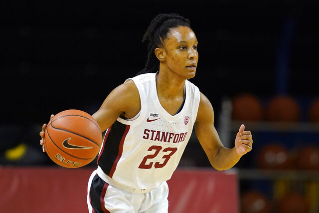 Stanford guard Kiana Williams dribbles the ball up the court against Southern California during the first half of an NCAA college basketball game in Santa Cruz, Calif., Sunday, Jan. 24, 2021. (AP Photo/Jeff Chiu)