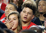 Kansas City Chiefs quarterback Patrick Mahomes watches during the first half in the semifinals of the Final Four NCAA college basketball tournament between Texas Tech and Michigan State, Saturday, April 6, 2019, in Minneapolis. (AP Photo/David J. Phillip)