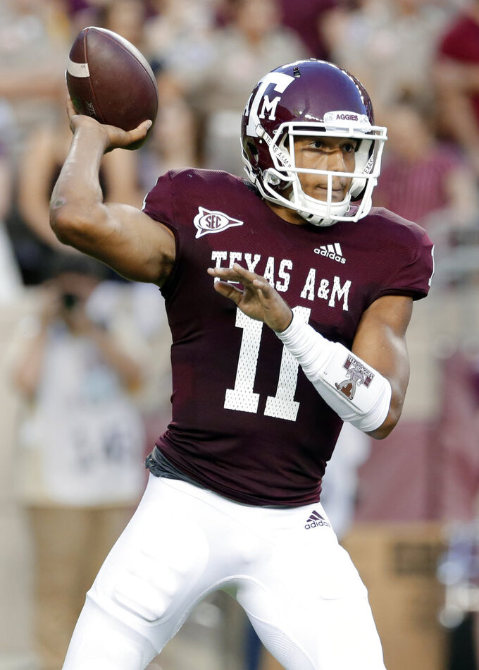 Texas A&M quarterback Kellen Mond (11) passes the ball during the first half of an NCAA college football game against Texas A&M Saturday, Oct. 6, 2018, in College Station, Texas. (AP Photo/Michael Wyke)