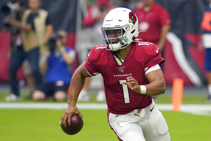 FILE - In this Sept. 8, 2019, file photo, Arizona Cardinals quarterback Kyler Murray (1) is shown during the first half of an NFL football game against the Detroit Lions, in Glendale, Ariz. Arizona plays at Baltimore on Sunday. (AP Photo/Rick Scuteri, File)