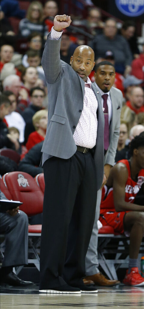 Southeast Missouri State head coach Rick Ray instructs his team against Ohio State during the first half of an NCAA college basketball game Tuesday, Dec. 17, 2019, in Columbus, Ohio. Ohio State defeated Southeast Missouri State 80-48. (AP Photo/Jay LaPrete)