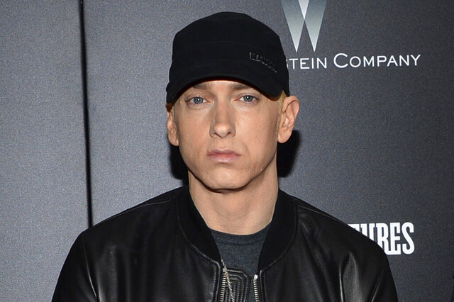 FILE - In this July 20, 2015, file photo, rapper Eminem attends the premiere of