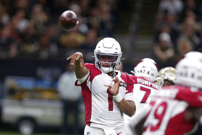 Arizona Cardinals quarterback Kyler Murray (1) passes in the first half of an NFL football game against the New Orleans Saints in New Orleans, Sunday, Oct. 27, 2019. (AP Photo/Butch Dill)