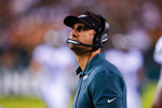 Philadelphia Eagles head coach Nick Sirianni looks up at the replay during the first half of a preseason NFL football game against the Pittsburgh Steelers Thursday, Aug. 12, 2021, in Philadelphia. (AP Photo/Chris Szagola)