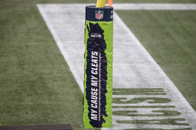 "A goal post pad shows the logo of the NFL's ""My Cause My Cleats"" initiative, before an NFL football game between the Seattle Seahawks and the New York Giants, Sunday, Dec. 6, 2020, in Seattle. (AP Photo/Larry Maurer)"