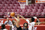 Western Kentucky forward Carson Williams (22) shots with Alabama forward/guard Herbert Jones (1) defending during the first half of an NCAA college basketball game, Saturday, Dec. 19, 2020, in Tuscaloosa, Ala. (AP Photo/Vasha Hunt)