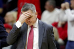Ohio State head coach Chris Holtmann reacts during a timeout in the second half of an NCAA college basketball game against Rutgers, Wednesday, Jan. 9, 2019, in Piscataway, N.J. Rutgers won 64-61. (AP Photo/Julio Cortez)