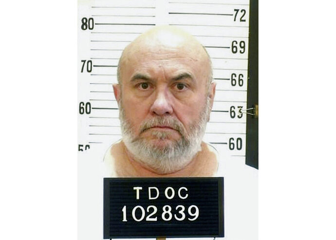 This undated photo released by the Tennessee Department of Corrections, shows death row inmate Edmund Zagorski in Tenn. An attorney for Zagorski says his choice of death by electrocution over lethal injection is not a ploy to buy time. Kelley Henry announced Zagorski's decision Monday night, Oct. 8, 2018. He's scheduled to be executed Thursday, Oct. 11. (Tennessee Department of Corrections via AP)