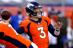 Denver Broncos quarterback Drew Lock (3) throws against the Los Angeles Chargers during the first half of an NFL football game, Sunday, Nov. 1, 2020, in Denver. (AP Photo/David Zalubowski)