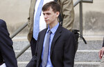Casey Viner, 18, of Ohio, one of the three men accused of orchestrating a swatting call that ended with a 28-year-old man being killed by a Wichita, Kan., police officer last December, was in federal court in Wichita on Wednesday, June 13, 2018. Viner pleaded not guilty to several counts of wire fraud, conspiracy, obstruction of justice and conspiracy to obstruct justice. (AP Photo/Bo Rader, The Wichita Eagle)/The Wichita Eagle via AP)