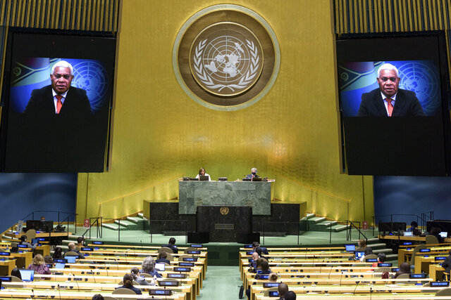 In this photo provided by the United Nations, Bob Loughman, prime minister of Vanuatu, speaks in a pre-recorded message which was played during the 75th session of the United Nations General Assembly, Saturday, Sept. 26, 2020, at U.N. headquarters. (Manuel Elias/UN Photo via AP)