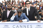 Actor John David Washington, from left, director Spike Lee, and Adam Driver pose for photographers during a photo call for the film 'BlacKkKlansman' at the 71st international film festival, Cannes, southern France, Tuesday, May 15, 2018. (Photo by Arthur Mola/Invision/AP)