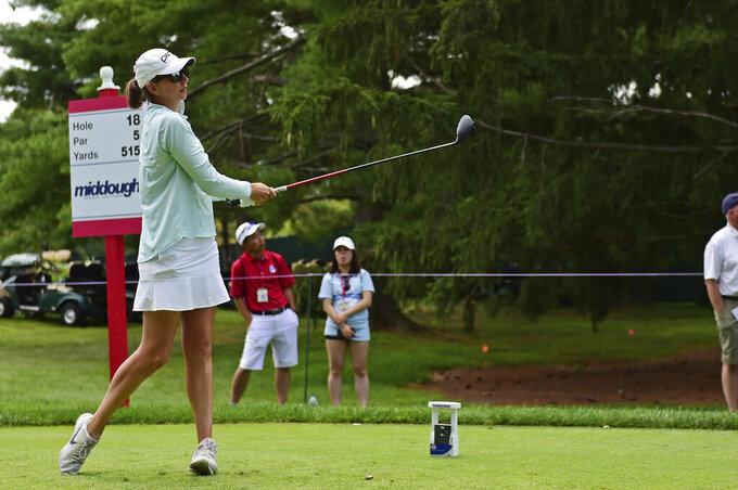 Elizabeth Szokol tees off on the 18th hole during the third round of the Marathon LPGA Classic golf tournament at Highland Meadows Golf Club in Sylvania, Ohio, Saturday, July 10, 2021, in Sylvania, Ohio. (AP Photo/David Dermer)
