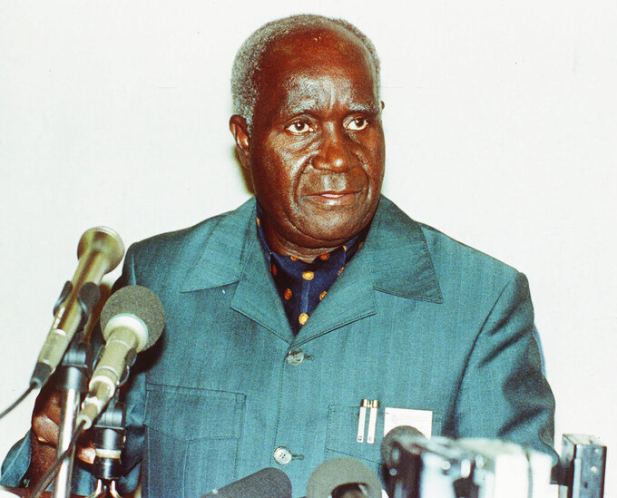 FILE - In this Feb. 6, 1991 file photo, former Zambia President, Kenneth Kaunda, is photographed during a visit to Zimbabwe. Zambia's first president Kenneth Kaunda has died at the age of 97, the country's president Edward Lungu announced Thursday June 17, 2021. (AP Photo/File)