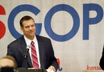 FILE - In this Nov. 6, 2018, file photo, Kansas Republican gubernatorial candidate Kris Kobach speaks during an election night rally in Topeka, Kan. Kobach isn't fazed that fellow Republicans worry he's unpopular or too brash in pushing his hard-right views to keep Kansas' open U.S. Senate seat in GOP hands next year. (AP Photo/Orlin Wagner, File)