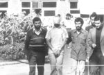 FILE - In this Nov. 8, 1979 file photo, one of the hostages held at the U.S. Embassy in Tehran, Iran is shown to the crowd by Iranian students. Nov. 4, 2019, will mark the 40th anniversary of the start of the 444-day hostage crisis that soured relations between the U.S. and the Islamic Republic for decades to come. (AP Photo, File)