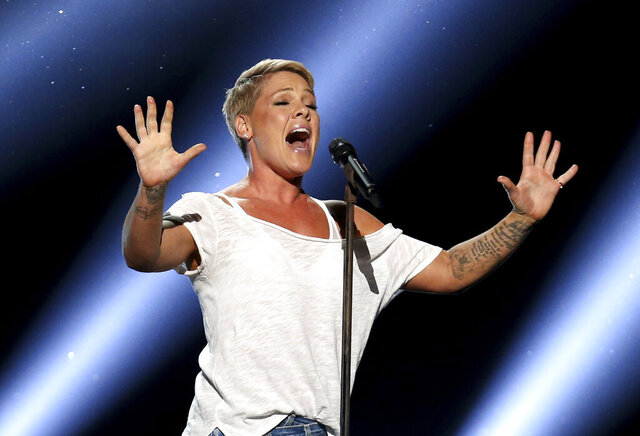 FILE - In this Jan. 28, 2018, file photo, Pink performs