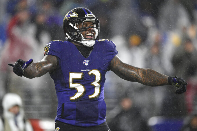 Baltimore Ravens defensive end Jihad Ward reacts after the Ravens scored a safety against the Pittsburgh Steelers during the second half of an NFL football game, Sunday, Dec. 29, 2019, in Baltimore. The Ravens won 28-10. (AP Photo/Nick Wass)