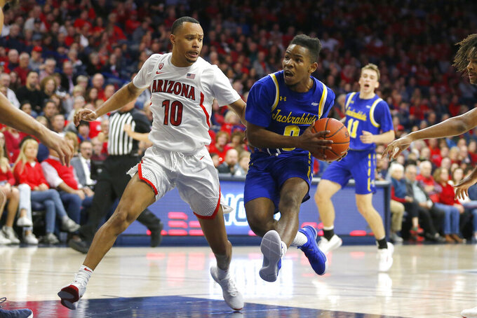 South Dakota State guard Brandon Key, front right, drives past Arizona guard Jemarl Baker Jr. (10) in the first half during an NCAA college basketball game, Thursday, Nov. 21, 2019, in Tucson, Ariz. (AP Photo/Rick Scuteri)