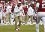 Arkansas coach Chad Morris reacts to a call against Auburn during the first half of an NCAA college football game, Saturday, Oct. 19, 2019 in Fayetteville, Ark. (AP Photo/Michael Woods)