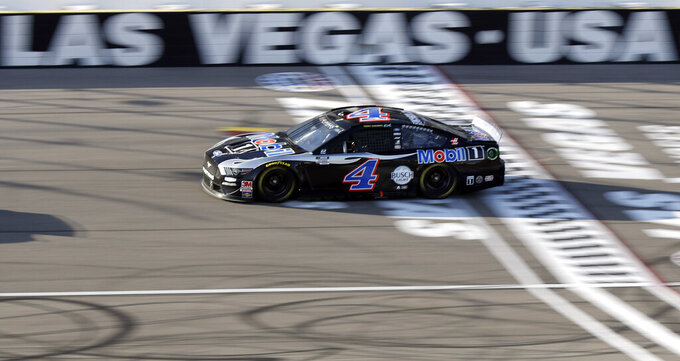 Kevin Harvick drives during a NASCAR Cup Series auto race Sunday, Sept. 27, 2020, in Las Vegas. (AP Photo/Isaac Brekken)
