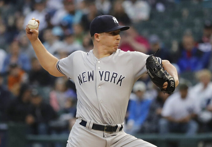 New York Yankees starting pitcher Chad Green throws against the Chicago White Sox during the first inning of a baseball game in Chicago, Saturday, June 15, 2019. (AP Photo/Nam Y. Huh)