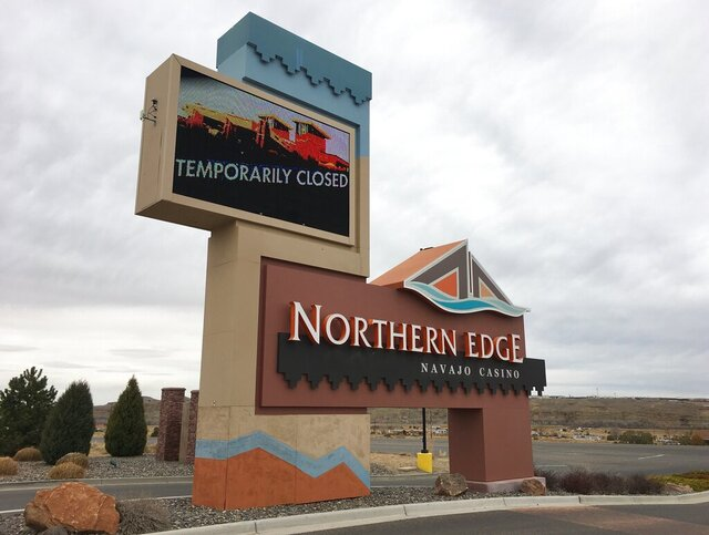 This photo taken March 17, 2020, shows the Northern Edge Casino in Upper Fruitland, New Mexico, on the Navajo Nation. Tribes across the country have closed casinos to help slow the spread of the new coronavirus. In the U.S. Southwest, the leader of the Navajo Nation restricted travel for employees who answer to him and wrote letters to federal officials saying anyone pulled away from duty at federal health care facilities on the vast reservation wouldn't be welcome back for 45 days. (Noel Lyn Smith,The Daily Times via AP)