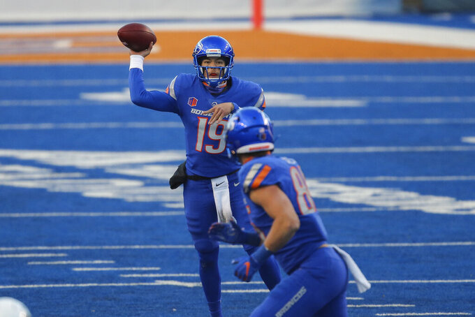 Boise State quarterback Hank Bachmeier (19) throws the ball in the first half against Utah State in an NCAA college football game Saturday, Oct. 24, 2020, in Boise, Idaho. Boise State 42-13. (AP Photo/Steve Conner)