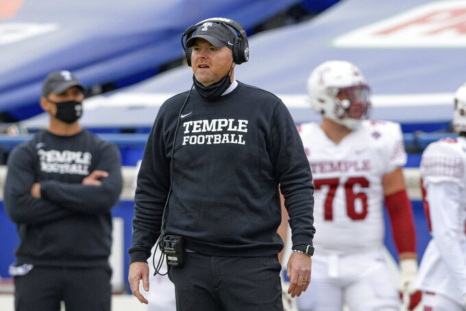 Temple head coach Rod Carey looks at the field during an NCAA football game against Memphis on Saturday, Oct. 24, 2020, in Memphis, Tenn. Struggling Temple plays No. 18 SMU on Saturday, Nov. 7. (AP Photo/Matthew Hinton)