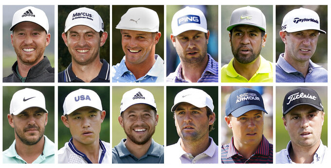 This combo of file photos shows the 2020 United States Ryder Cup golf team. Top row, from left, Daniel Berger, Patrick Cantlay, Bryson DeChambeau, Harris English, Tony Finau and Dustin Johnson. Bottom row, from left, Brooks Koepka, Collin Morikawa, Xander Schauffele, Scottie Scheffler, Jordan Spieth and Justin Thomas. The pandemic-delayed 2020 Ryder Cup returns the United States next week at Whistling Straits along the Wisconsin shores of Lake Michigan.  (AP Photo/File)