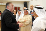 U.S. Secretary of State Mike Pompeo meets with Members of U.S. Chamber of Commerce, U.S. and Kuwait Business Leaders in Kuwait, Wednesday, March 20, 2019. (Jim Young/Pool Photo via AP)