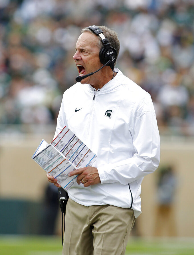 Michigan State coach Mark Dantonio reacts during the second quarter of an NCAA college football game against Northwestern, Saturday, Oct. 6, 2018, in East Lansing, Mich. (AP Photo/Al Goldis)