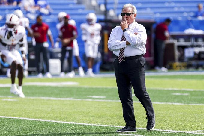 Louisiana-Monroe head coach Terry Bowden watches his team warm up before an NCAA college football game against Kentucky in Lexington, Ky., Saturday, Sept. 4, 2021. (AP Photo/Michael Clubb)