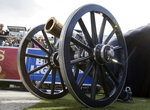 FILE- In this Nov. 25, 2017, file photo, The Fremont Cannon, presented to the winner of the UNLV vs. Nevada NCAA college football game, sits in the stadium in Reno, Nev. The Las Vegas Raiders were the first team to play inside Allegiant Stadium. But the UNLV Rebels will be the first team to play with fans inside the $2 billion dollar venue, when they host in-state rival Nevada on Saturday, Oct. 31, 2020, in the annual battle for the Fremont Cannon, college football's largest rivalry trophy. (AP Photo/Tom R. Smedes, File)