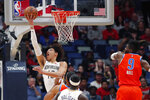 New Orleans Pelicans center Jaxson Hayes (10) goes to the basket against Oklahoma City Thunder center Nerlens Noel (9) in the first half of an NBA basketball game in New Orleans, Sunday, Dec. 1, 2019. (AP Photo/Gerald Herbert)