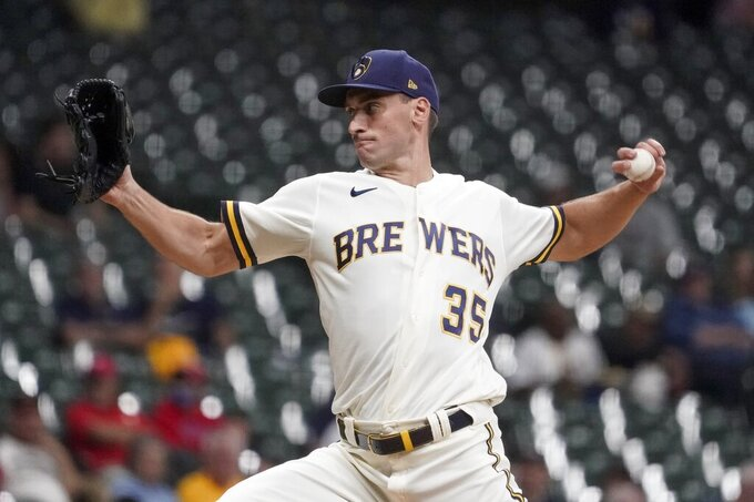 Milwaukee Brewers relief pitcher Brent Suter throws during the fourth inning of a baseball game against the Philadelphia Phillies Wednesday, Sept. 8, 2021, in Milwaukee. (AP Photo/Morry Gash)