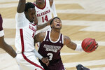 Mississippi State's D.J. Stewart Jr. (3) drives against Alabama's Juwan Gary, left, in the second half of an NCAA college basketball game in the Southeastern Conference Tournament Friday, March 12, 2021, in Nashville, Tenn. (AP Photo/Mark Humphrey)