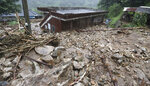 A house hit by a landslide caused by heavy rain in Namwon, South Korea, Saturday, Aug. 8, 2020. (Kim Dong-chul/Yonhap via AP)