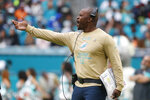 Miami Dolphins head coach Brian Flores gestures, during the second half at an NFL football game against the Buffalo Bills, Sunday, Nov. 17, 2019, in Miami Gardens, Fla. (AP Photo/Wilfredo Lee)