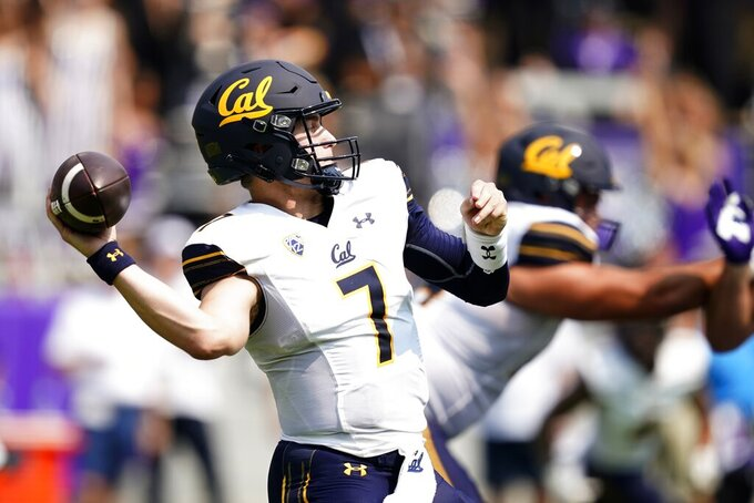 California quarterback Chase Garbers (7) throws a pass in the first half of an NCAA college football game against TCU in Fort Worth, Texas, Saturday, Sept. 11, 2021. (AP Photo/Tony Gutierrez)