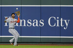 Detroit Tigers center fielder Victor Reyes catches a sacrifice fly by Kansas City Royals' Maikel Franco during the fifth inning of a baseball game Friday, Sept. 25, 2020, in Kansas City, Mo. (AP Photo/Charlie Riedel)