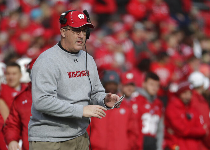 "FILE - In this Nov. 3, 2018, file photo, Wisconsin coach Paul Chryst watches the first half of the team's NCAA college football game against Rutgers in Madison, Wis. Wisconsin won eight games a season ago, its fewest since 2012 and fewest under coach Chryst. ""You hope it's a blip, right? And yet, that's the beauty of this season,"" said Chryst, who is in his fifth year at the helm of the Badgers' program. (AP Photo/Morry Gash, File)"