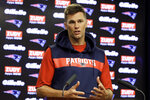 New England Patriots quarterback Tom Brady takes questions from reporters following an NFL football practice, Wednesday, Sept. 4, 2019, in Foxborough, Mass. (AP Photo/Steven Senne)