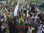 People rally to express solidarity with Indian Kashmiris struggling for their independence, in Karachi, Pakistan, Friday, March 6, 2020. (AP Photo/Fareed Khan)