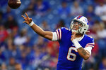 Buffalo Bills quarterback Tyree Jackson throws a pass during the first half of the team's NFL preseason football game against the Minnesota Vikings in Orchard Park, N.Y., Thursday, Aug. 29, 2019. (AP Photo/David Dermer)